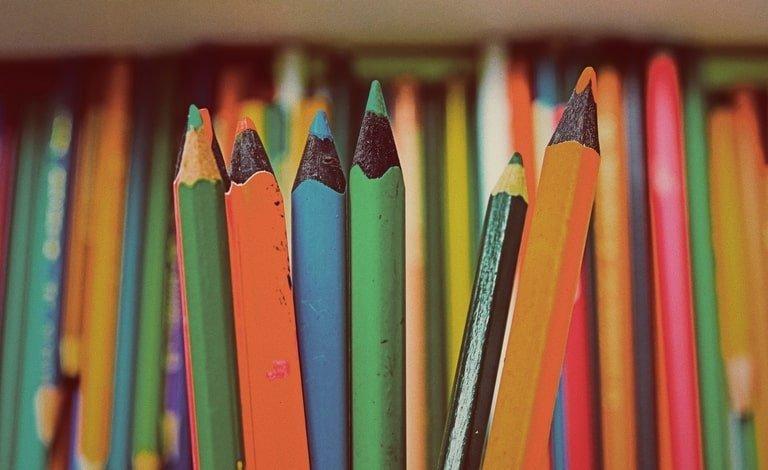 Close up of watercolor pencils
