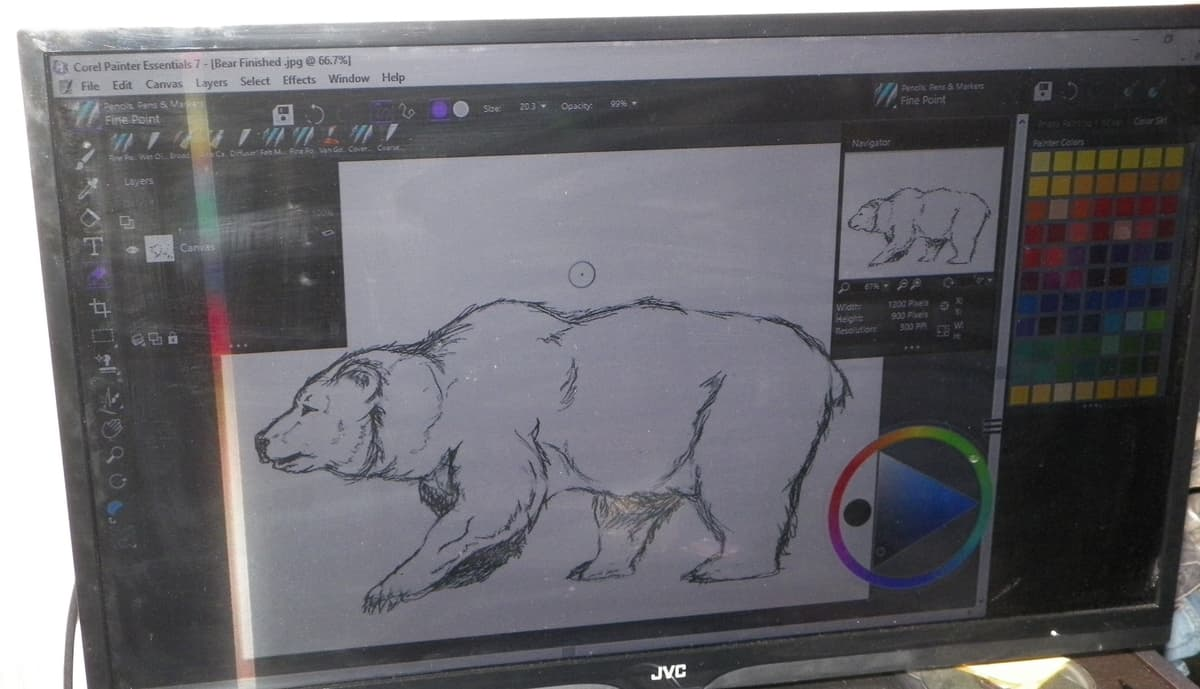 Outline drawing of a bear on monitor