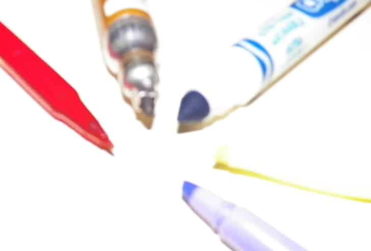 Five different types of marker tips