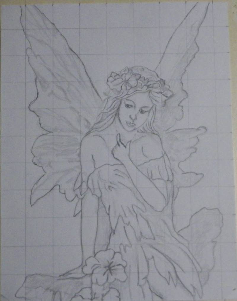 darkened outline of fairy drawing